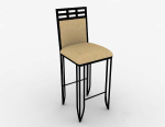 Brown wooden simple barstool 3d model