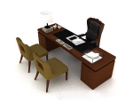 Wooden office desk 3d model